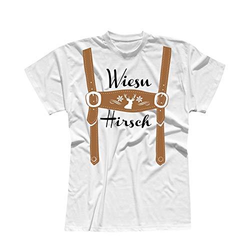 T-Shirt Oktoberfest Wiesn Hirsch Lederhose Kostüm Tracht 13 Farben Herren XS-5XL München Wiesn Festzelt O'zapft Maß Krug Dirndel, Größe:XL, Farbe:Weiss - Logo schwarz