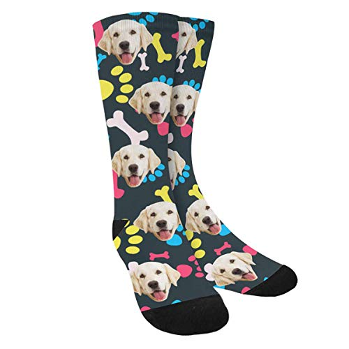 Custom Printed Photo Socks, Turn Your Picture into Cool Pet with Dog Paw Prints Bones Crew Socks Unisex