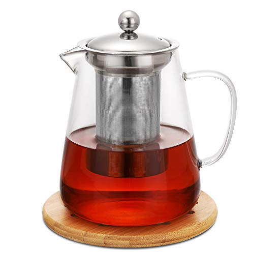 Hiware 32oz Stovetop Safe Glass Teapot with Removable Infuser - Lead-Free Glass Tea Kettle, Tea Strainer, Clear Tea Pot for Loose Leaf Tea, Blooming Tea, Tea Bags - Coaster and Warmer Sleeve