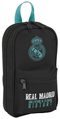 Real Madrid FC - Plumier forma de mochila con 4 portatodos llenos (safta 411777747), Negro