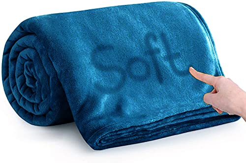 Silk Touch Summer Fleece Blankets - 400 GSM Grey Throws for Sofa Fluffy Blanket Bed Throw for Bedroom, Couch, Travel, Kids, Bedroom Accessories (Teal, Double (150 x 200 CM))