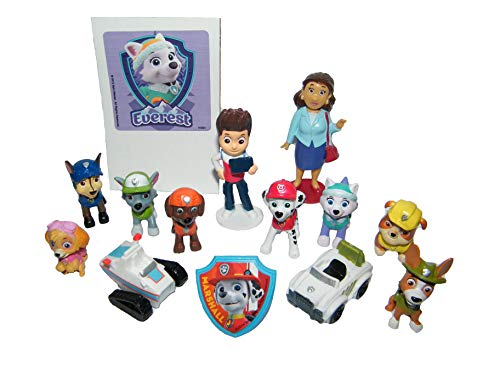Paw Patrol Deluxe Party Favors Goody Bag Fillers Set of 14 Old New Figures like Tracker Everest, New Vehicles, Special Sticker PAW ToyRing