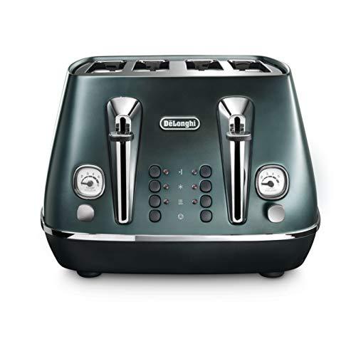 De'Longhi Distinta Flair 4 slot toaster, reheat, defrost, one-side bagel & 6 browning settings, matte metallic design, CTI4003.GR, Green