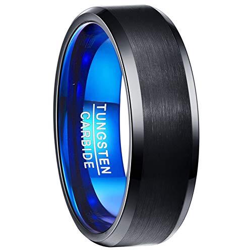 TUNGSTORY 8mm Anello Blu Nero da Uomo Finitura Spazzolata Anello in Carburo di Tungsteno con Bordo Smussato Lucido Comfort Fit Taglie dalla 20