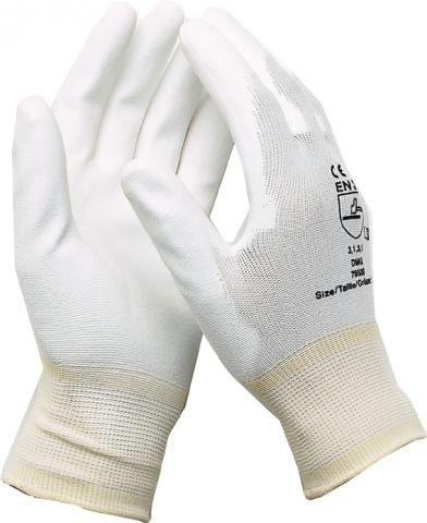 Montagehandschuhe Arbeitshandschuhe Elektriker Mechaniker Handschuhe Nylon mit PU Weiß Größe 9 / 6 Paar
