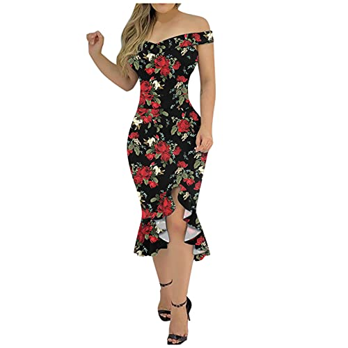 Womens Casual Floral Print Dresses Lace Short Sleeve Cold Shoulder Ruffle Hem Irregular Summer Club Party Bodycon Dress