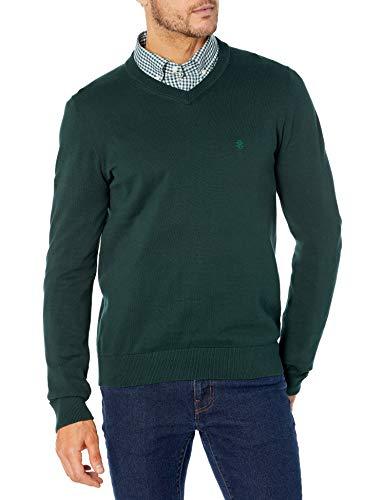 IZOD Men's Premium Essentials Solid V-Neck 12 Gauge Sweater, Wild Fern, Large