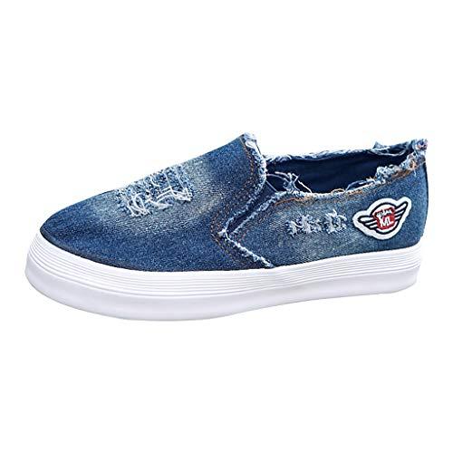 AHAYAKU Women Platform Flat Slip-On Round Toe Casual Sports Canvas Shoes 2019 Style Dark Blue
