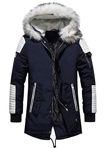 chouyatou Men's Winter Warm Faux Leather Spliced Padded Long Down Alternative Parka Coat Fur Hood (Small, Navy Blue)