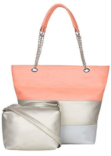 ADISA Women's Handbag With Sling bag (Set of 2) (AD3016-PEA_Peach)
