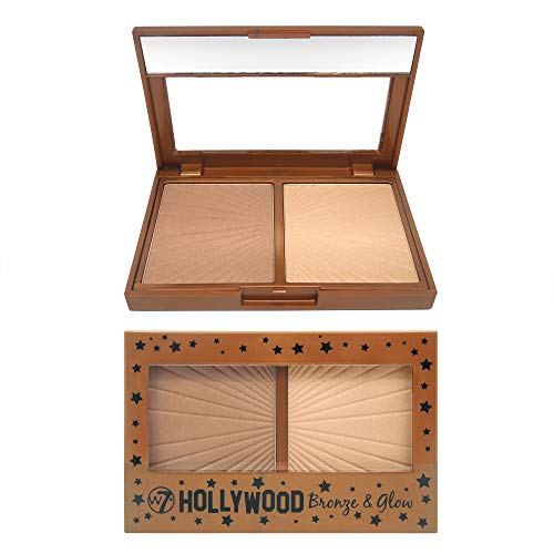 W7 | Hollywood Bronze & Glow Duo Compact | 2 in 1 Bronzing and Highlighting Pressed Powder | Color: Champagne Gold Highlighter and Shimmering Bronzer | Cruelty Free, Vegan Face Makeup