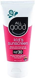All Good Kids Sunscreen Lotion - Zinc Oxide - Coral Reef Safe - Water Resistant - UVA/UVB Broad Spectrum - SPF 30 (3 oz)