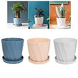 Faluckyy Plastic Flowerpot, 3 Satz Blumentöpfe und Untertassen Zimmerpflanzentopf mit Abflusslöchern (Pink, Blau, Weiß) (Type-2)