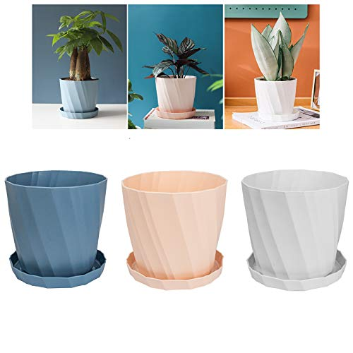 FALUCKYY Plastic Flowerpot,3 Set of Flowerpots and Saucers Indoor Plant Pot with Drain Holes (Pink, Blue, White)