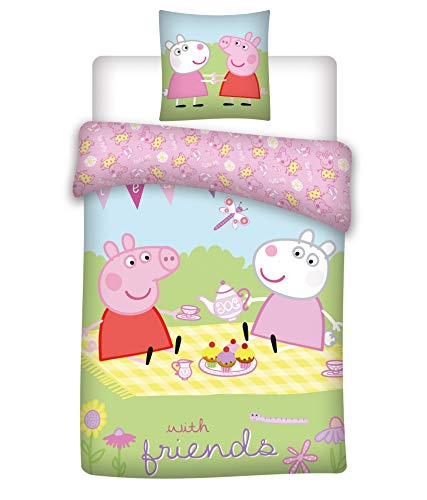 035 Peppa Pig Bettwäsche, Kinderbettwäsche/Babybettwäsche, Peppa Pig with Friends, Kissenbezug 40x60+Bettbezug 100x135cm, 100% Baumwolle Oeko-TEX