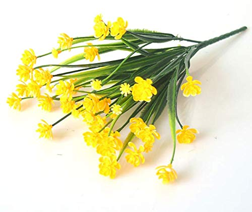 ETERNITY.YJ Artificial Flowers Outdoor, 6 Bundles UV Resistant Fake Flowers No Fading Artificial Plant Indoor Outside Hanging Planter Home Garden Wedding Decor(Yellow)