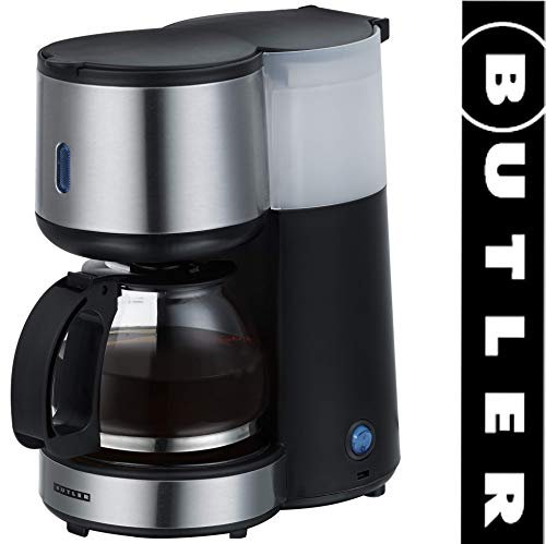 Butler 16100121 Filter-Kaffeemaschine, 4 Tassen, Edelstahlfront, Warmhalteplatte mit Abschaltautomatik,Kaffeeautomat,2 Personen,Single,