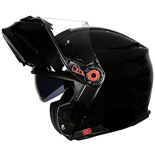 Casco Moto Modular Cascos Integral Flip Up Integradas Unas Gafas de Sol ECE 22-05 Aprobado Medio Casco de Scooter de Crucero Escamoteables Doble Anti Niebla Visera Buen Sellado A,XXL=60~62cm