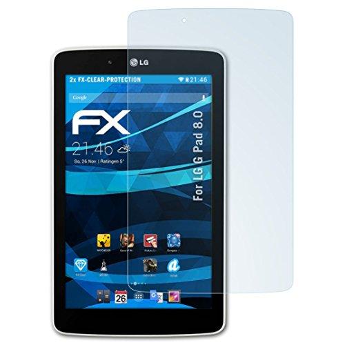 atFolix Schutzfolie kompatibel mit LG G Pad 8.0 Folie, ultraklare FX Bildschirmschutzfolie (2X)