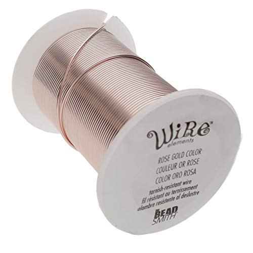 The Beadsmith Wire Elements 18-Gauge Lacquered Tarnish-Resistant Copper Wire for Jewelry Making, 10 Yard, 9.14 Meter Spool (Rose Gold)