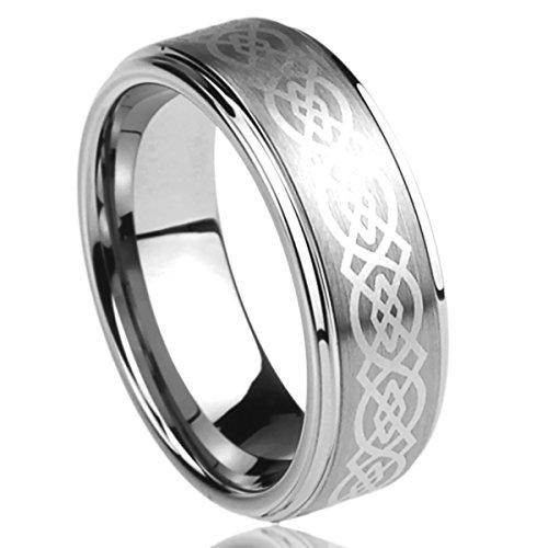 Prime Pristine 6mm 8mm Mens Womens Titanium Wedding Band Ring Laser Etched Celtic Knot Design Band Ring SZ: 11