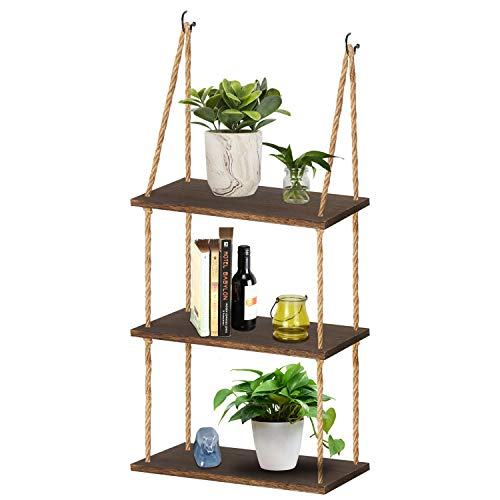 TJ.MOREE Wall Hanging Rope Shelf Wood Hanging Plant Shelves, 3 Tier Window Shelf Home Decor Storage Shelves for Interior Window/Kitchen/Bathroom/Bedroom (Dark Brown)
