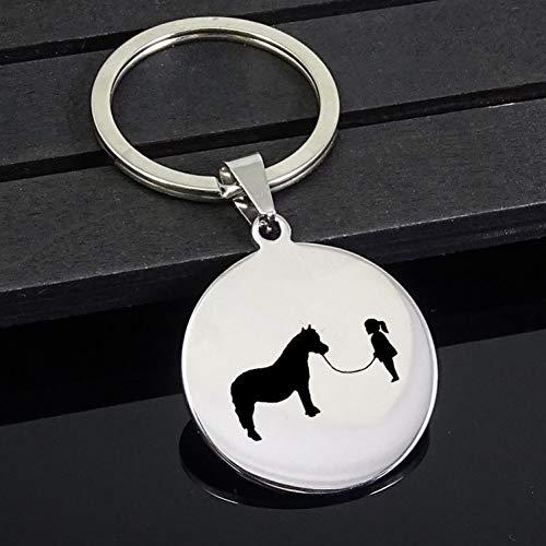 TAOZIAA Mooie Gril Sleutelhanger Mini Paard Disc Sleutelhangers Sieraden voor Mannen en Vrouwen