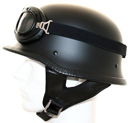 ATO-Helme Oldtimer Motorradhelm mit Fliegerbrille Wehrmachtshelm (M 57/58cm, Schwarz matt)