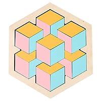 ZHIZI 婴儿・智育玩具 六角形のタングラム三次元ジグソーパズル、3枚の子供の古典的な六角形のパズル (Size : A)