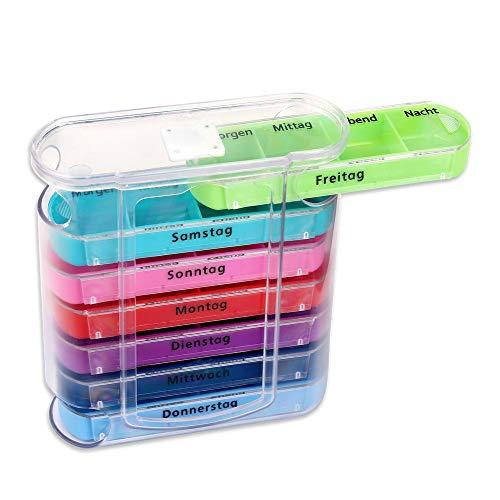 Schramm® Tablettenbox bunt mit bunten Schiebern für 7 Tage Pillen 12 x 11cm Tabletten Box Schachtel Tablettendose Pillendose