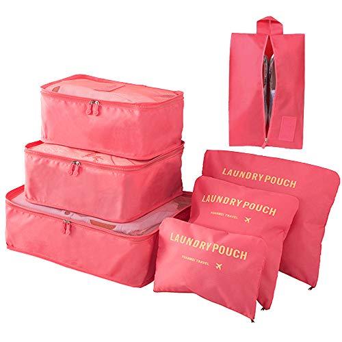 Organizador de Equipaje 7 en 1 Set Organizador de Maletas Impermeable Viaje con Bolsa de Zapato, Material Nylon-Meowoo(Rojo)