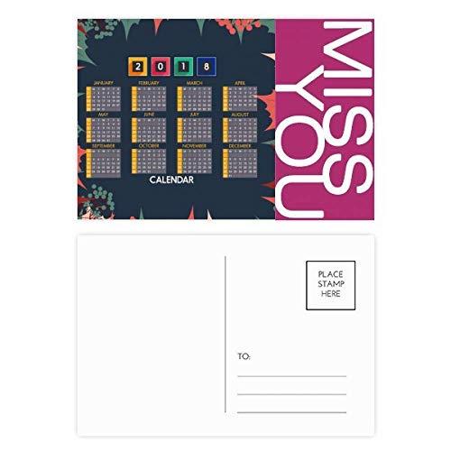 2018 Blätter Obstkalender Muster Miss Postkarten-Set Danksagungskarte Mailing Seite 20 Stück