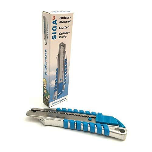Siga Cuttermesser Metall Teppichmesser 18 mm Abbrechklinge Cutter Messer Paketmesser