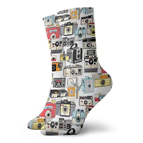 Love girl Vintage cámara ilustraciones fotografía analógica película hombres mujeres novedad divertido Crazy Crew calcetines estampados 30cm