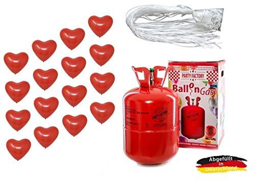 Adams Gas, EvertsPol, Ballonservice Set: Helium Ballongas + 50 rote Herzballons + 50 Fäden/Schnellverschlüsse