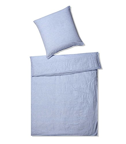 elegante Halbleinen Bettwäsche, Breeze, 7038-02-155x200 80x80 cm, bleu,