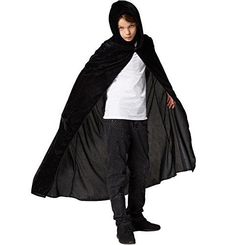 dressforfun 900369 - Mystischer Umhang mit Kapuze für Kinder, ärmelloser, Langer Umhang mit spitzzulaufender Kapuze (Schwarz, 74 cm)