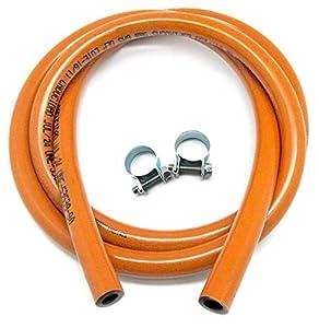 S&M 321535 Kit Tubería homologada de Gas Butano de 1,5 Metros-Ø 9mm con Abrazaderas con pestaña, Naranja