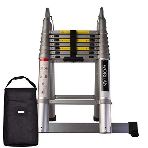WORHAN® 5.6m Escalera Doble Telescopica Multiuso Multifuncional con Anillos DE Aluminio Plegable Tijera Aluminio Generación Bolsa de Transporte Calidad Alta AK5.6+Bag