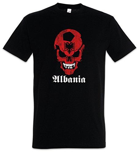 Urban Backwoods Black Classic Football Soccer Albania Skull Flag Hommes T-Shirt Noir Taille M