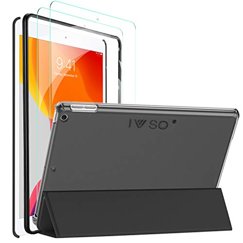 IVSO Cover Case for iPad 10.2 2019, Slim PU Cover Case for iPad 7th Generation 2019 10.2 Inches, Black