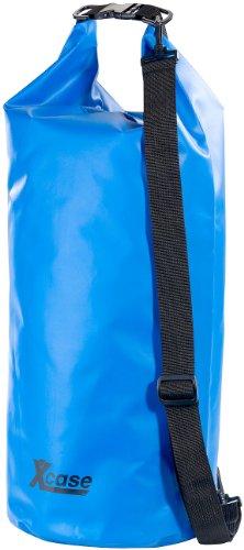 Xcase wasserdichte Beutel: Wasserdichter Packsack 25 Liter, blau, aus strapazierfähiger LKW-Plane (Wasserdichter Schwimmsack)