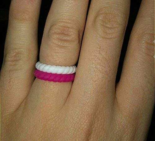 Made for Her Stackable Silicone Wedding Ring for Gym Sports Outdoor Women, Durable Rubber Band Pack of 3-7-10
