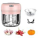 Small Kitchen Food Mixer Mini Food Chopper Electric , Portable Vegetable, Fruit, Meat, Garlic, Onion and Ginger Chopper, can be Used for Baby Food Salad USB Charging 250ML and 100ML