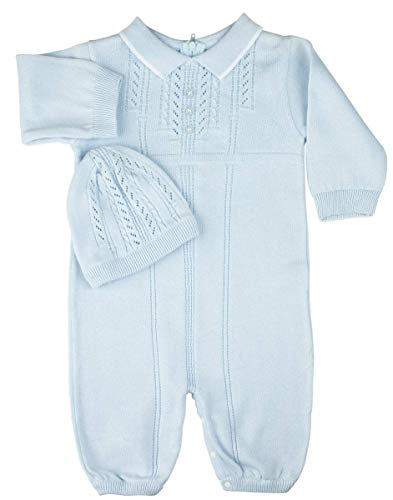 Feltman Brothers Boys Blue Knit Take Home Layette Set with Hat 6M
