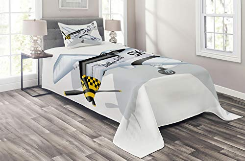 Ambesonne Vintage Airplane Coverlet, P-51 Dallas Doll Detailed Illustration American Air Force Classic Plane, 2 Piece Decorative Quilted Bedspread Set with 1 Pillow Sham, Twin Size, Grey White