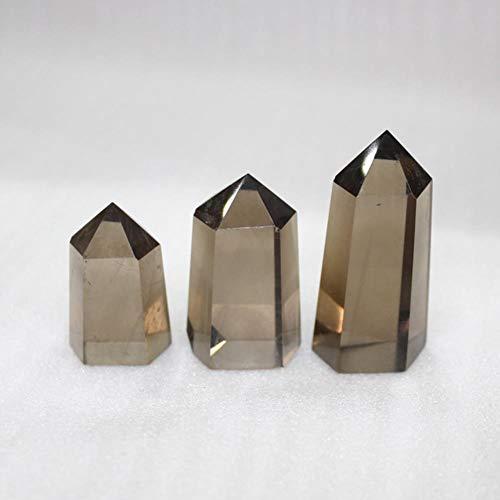 YAAMEI ナチュラルティークォーツポイント6プリズムクリスタルスモーキーストーンコラム宝石六角プリズム飾りレイキシングルポイントホームデコレーシ