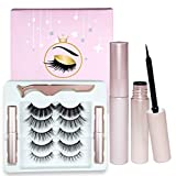 5 Pairs Magnetic Eyelashes With Eyeliner Kit,Reusable,Natural Look,Multi Styles Lashes with Tweezers,Waterproof Liquid Magnetic Eyeliner, No Glue Needed,Strongest Hold