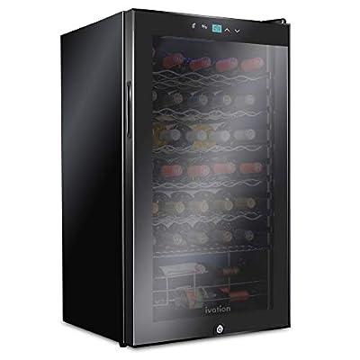 Ivation 34 Bottle Compressor Wine Cooler Refrigerator w/Lock | Large Freestanding Wine Cellar For Red, White, Champagne or Sparkling Wine | 41f-64f Digital Temperature Control Fridge Glass Door Black
