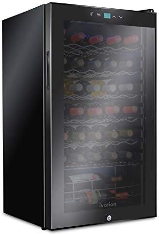 Ivation 34 Bottle Compressor Wine Cooler Refrigerator w Lock Large Freestanding Wine Cellar product image